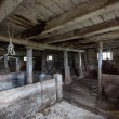 Interior of an old, decaying barn — Stock Photo