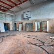 Abandoned sports hall in a devastated building — Stock Photo #42431131