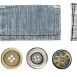 Jeans labels and buttons — Stock Photo