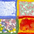 Hand painted illustration of four seasons. Picture I have created with watercolors. — Foto de Stock