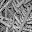 Threaded metal rod, close up - Stock Photo