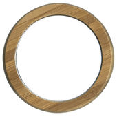 Round wooden frame isolated — Stock Photo