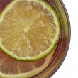 Single cross section of lemon and lime — Stock Photo #27504727