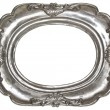Stock Photo: Oval silver picture frame with decorative pattern