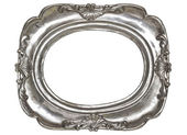 Oval silver picture frame with a decorative pattern — Stock Photo