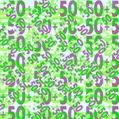 50 green and violet numbers on white background — Stock Photo