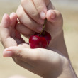 It is red sweet cherry lies in a hand — Stock Photo #33142957