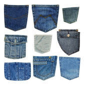 Blue jeans pockets isolated on white background — Stock Photo