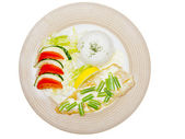 Fish with souce,rice, and green beans — Stock Photo