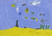 Tropikal balıklar mavi deniz suyu — Stok fotoğraf