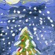 Stock Photo: Christmas Tree by watercolor painting