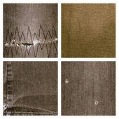 Set of four brown jeans texture — Zdjęcie stockowe