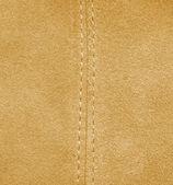 Yellow leather texture, stitch. — Stock Photo