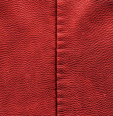Red leather texture closeup,stitch — Stock fotografie