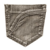 Brown jeans pocket, isolated, close up  — Stock Photo