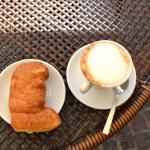 Cappuccino with Cornetto — Stock Photo
