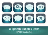 A vector set of creative bubble speech icons in retro style — Stok Vektör