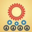Gears on a creative background — Stock Vector