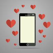 Teléfono móvil moderno con corazón — Vector de stock