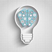 Bulb with brain cloud — Stock Vector