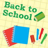 Back to school, paper, pencils, pens, — Stockvector