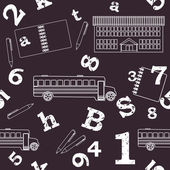 Schule, nahtlose muster, zahlen, buchstaben — Stockvektor