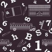 Skolan seamless mönster, siffror, bokstäver — Stockvektor
