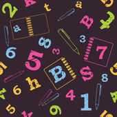 School seamless pattern, numbers, letters — Stock vektor