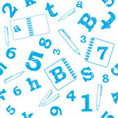 School seamless pattern, numbers, letters — Wektor stockowy