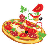 Pizza, vector illustration — Stock Vector