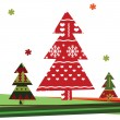 Stock Vector: Christmas background with Christmas tree
