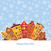 Winter city, New Year, vector illustration — ストックベクタ