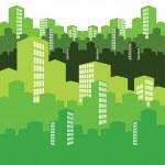 Green city, vector illustration, background — Stock Vector