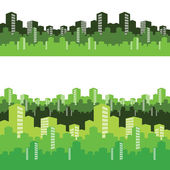 Green city, vector illustration, background — Stock Vector