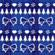 Stock Vector: Blue seamless Christmas pattern with Christmas trees, bows, hearts
