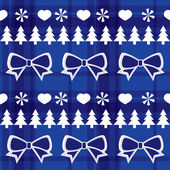 Blue seamless Christmas pattern with Christmas trees, bows, hearts — Stock Vector