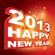3D vector , Happy new year 2013 — Stockvectorbeeld