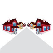 Vector house, the street, the cottage — Stock Vector