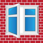 Vector windows, brick wall — Stock Vector