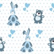 Seamless pattern with teddy bear and a rabbit — Imagen vectorial