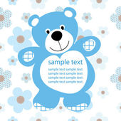 Card with a teddy bear for baby — Stockvector