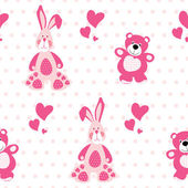 Seamless pattern with teddy bear and a rabbit — Stock Vector