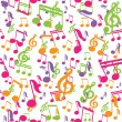 Stock Vector: Vector seamless pattern with music notes