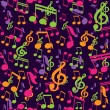 Vector seamless pattern with music notes - Stock Vector