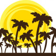 Stock Vector: Silhouette of palm trees