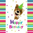 Vector birthday card with a dog — Stock Vector