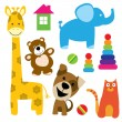 Set of vector animals toys — Stock Vector