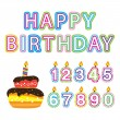 Royalty-Free Stock Vector Image: Vector Happy birthday, figures, candles