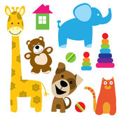 Set of vector animals toys — Stock Vector