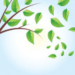 Vector green tree, green leaves — Stock Vector